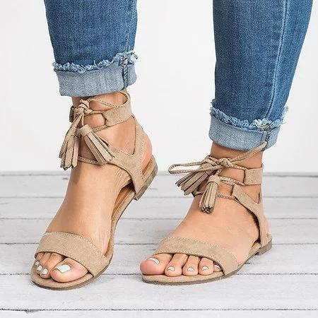 Large Size Women Summer Pu Sandals Casual Lace Up Tassel Shoes