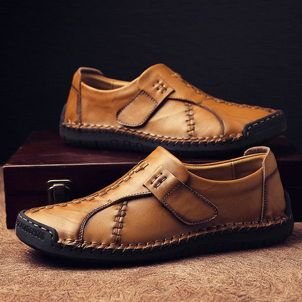 Menico Men's Vintage Hand Stitcing Hook-Loop Soft Leather Loafers