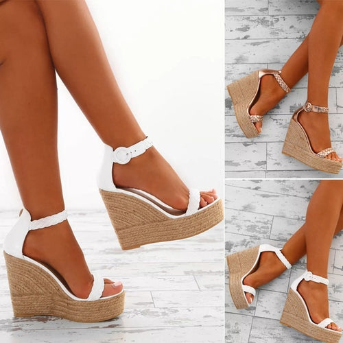 Women Casual Peep Toe Platform Sandals Wedge Ankle Shoes