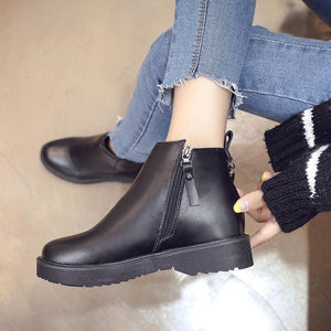 Martin Boots Female Chunky Heel Side Zipper Women's Boots with Tassels Marten