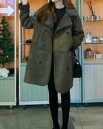 Women Plus Size Lapel Solid Long Sleeve Pockets Coat