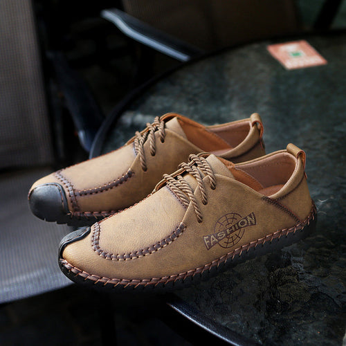 Men British Style Hand Stitching Cow Leather Casual Shoes