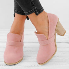 Load image into Gallery viewer, Women Solid Thick Heel Elegant High Heel Cute Work Boots