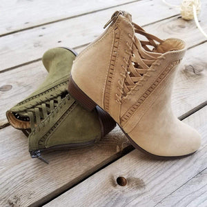 Stylish Detailed Booties Gentle Hollow Boots Buckle Medium Height Chunky Heel Spring Fall