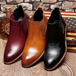Men Carved Leather Slip Resistant High Top Casual Chelsea Boots