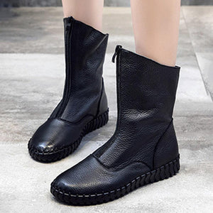 Large Size Genuine Leather Stitching Front Zipper Flat Mid Calf Boots