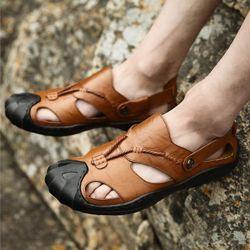 Men Comfortable Anti Collision Toe Faxu Leather Sandals Shoes