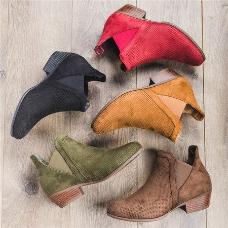 Mesh Ankle Booties Round Toe Artificial Suede Elastic Band Slip On Casual Boots