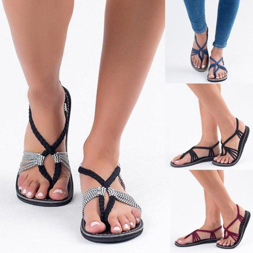 94304eee8 Large Size Braided Flat Heel Holiday Sandals