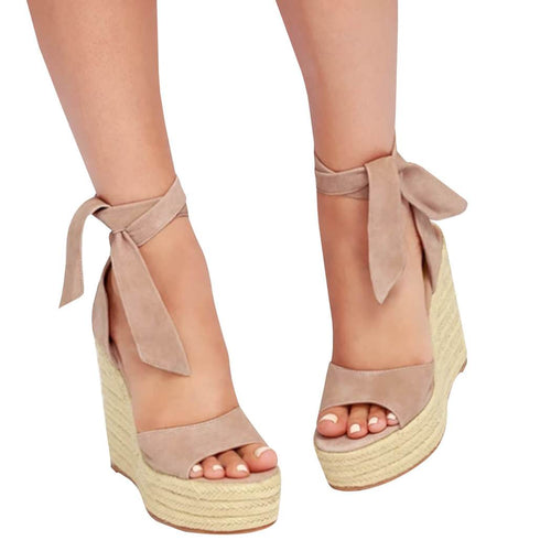 Strappy Lace Up Platform Wedge Espadrille Bohemia Cute Soft Faux Leather