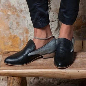 bbdb9957b8 Color Block Paneled Slip On Loafers Low Heel Casual Loafers