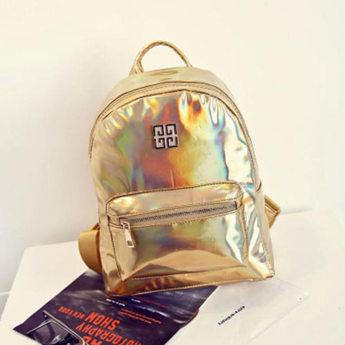 Laser Bling Backpack Casual PU Shoulder Bag Travel Bag