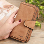 Four Fold Wallet Purse 10 Card Slot PU Card Bag