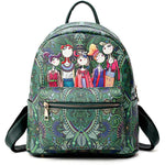 Bohemian Forest Series Backpack Large Capacity Print Handbag