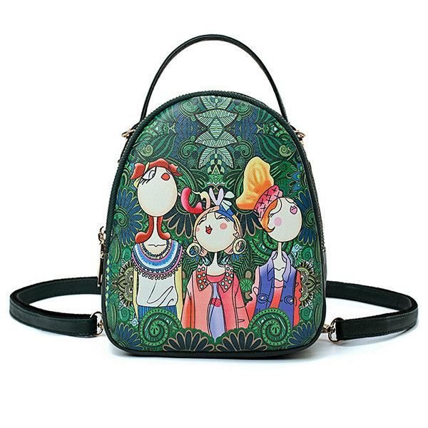 Forest Print Bohemian Multi-function Backpack Travel Crossbody Bag