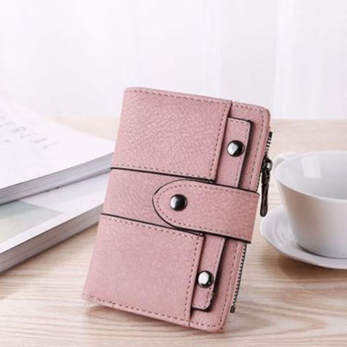 Women's Purse Stylish Chic Rivet 3 Folds Preppy Fashion Wallet