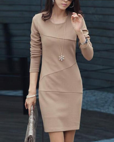 Women Apricot Sheath Long Sleeve Casual Cotton Paneled Solid Dress