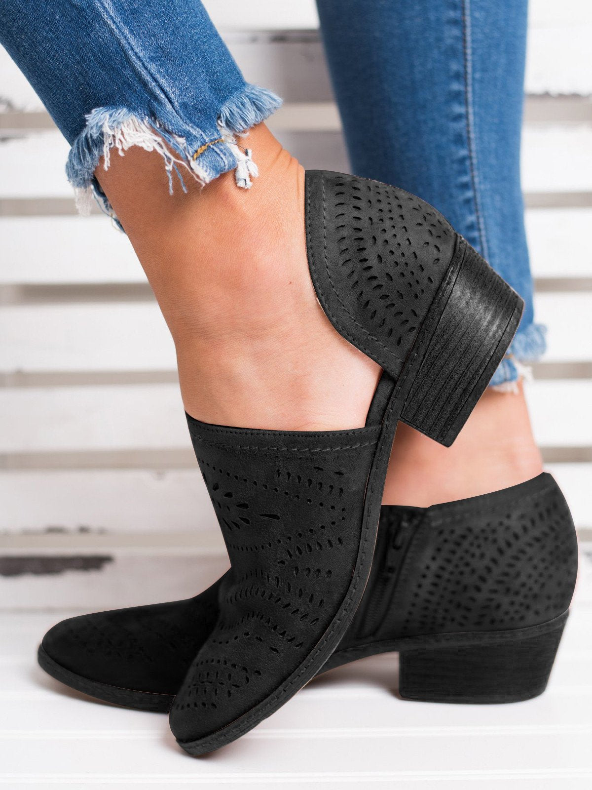 dab71e6212ff Hollow-out Low Heel Cutout Booties Faux Suede Zipper Ankle Boots ...