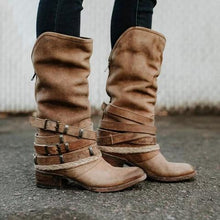 Load image into Gallery viewer, Vintage Adjustable Buckle Boots Plus Size Back Zipper Boots