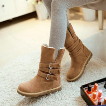 Load image into Gallery viewer, Cushioned Low-Calf Buckled Boots Low Heel Slip On Boots