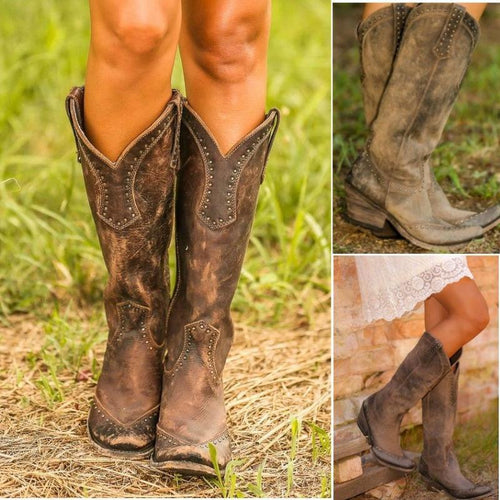 Women's Vintage Western Boots Cowboy Boots Faux Leather Boots