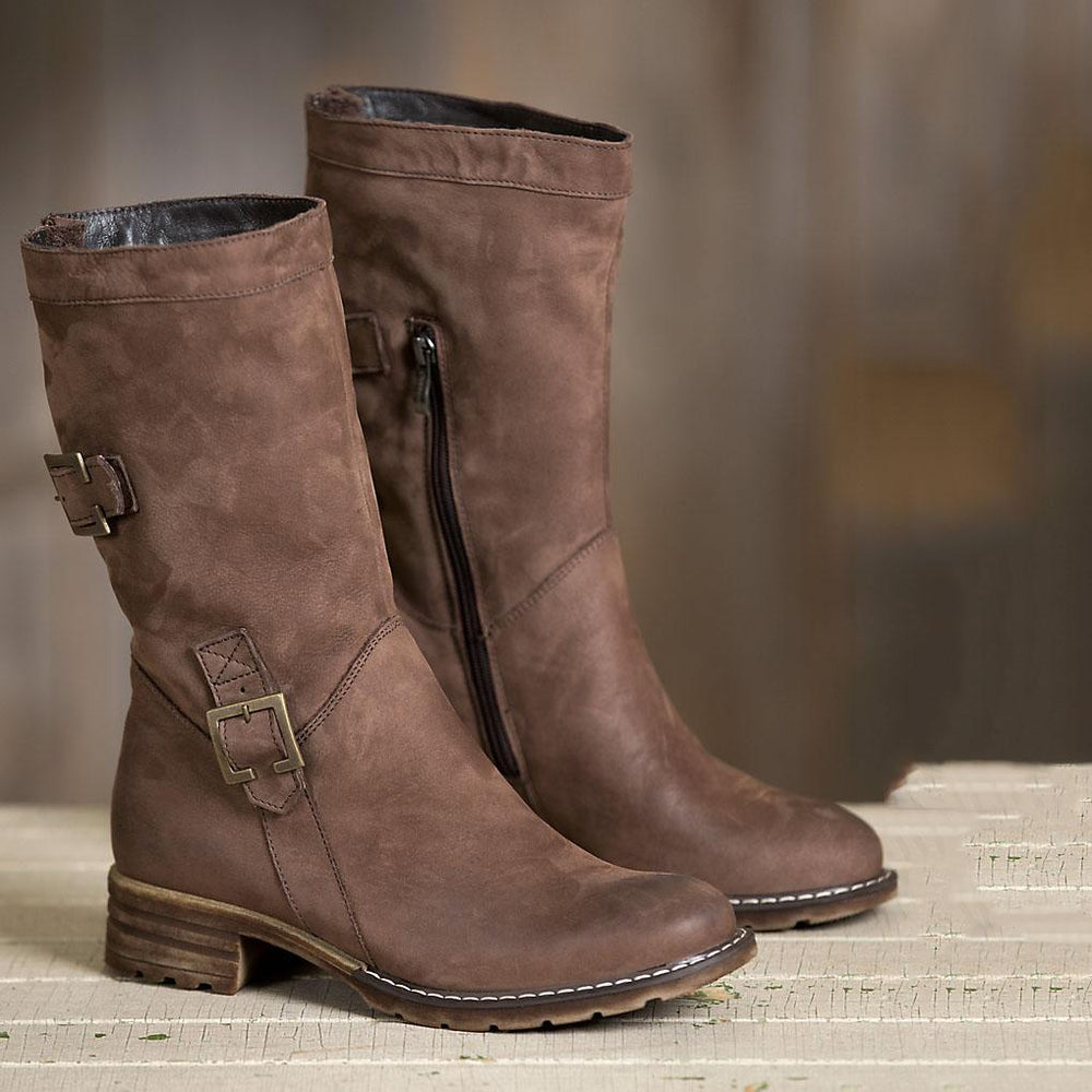 Women Vintage Warm Brown Snow Boots