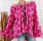 Casual Printed Blouse With Naked Shoulder Flared Sleeves