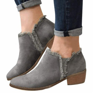 6ee99258e9 Plain Chunky Mid Heeled Velvet Round Toe Casual Date Ankle Boots