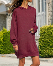 Load image into Gallery viewer, Autumn Women Long Sleeve Plain Hooded Sweatshirt Loose Casual Hoodies Dress