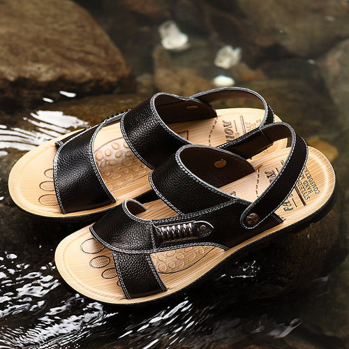 Men Metal Buckle Flat Open-toe Slipper Sports Casual Beach Sandals