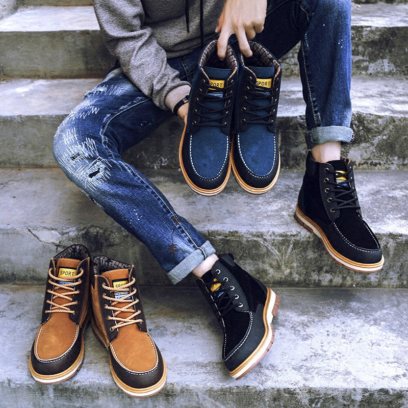 Men's High Top Metal Eyelets Color Blocking Lace Up Casual Boots