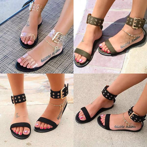 7d7e41acb Large Size Women Summer Beach Sandals Holiday Adjustable Buckle Flat Heel  Shoes