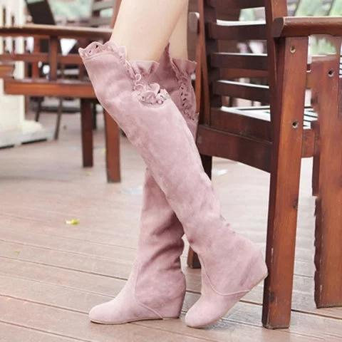 Large Size Women Wedge Round Toe Booties Casual Knee Boots