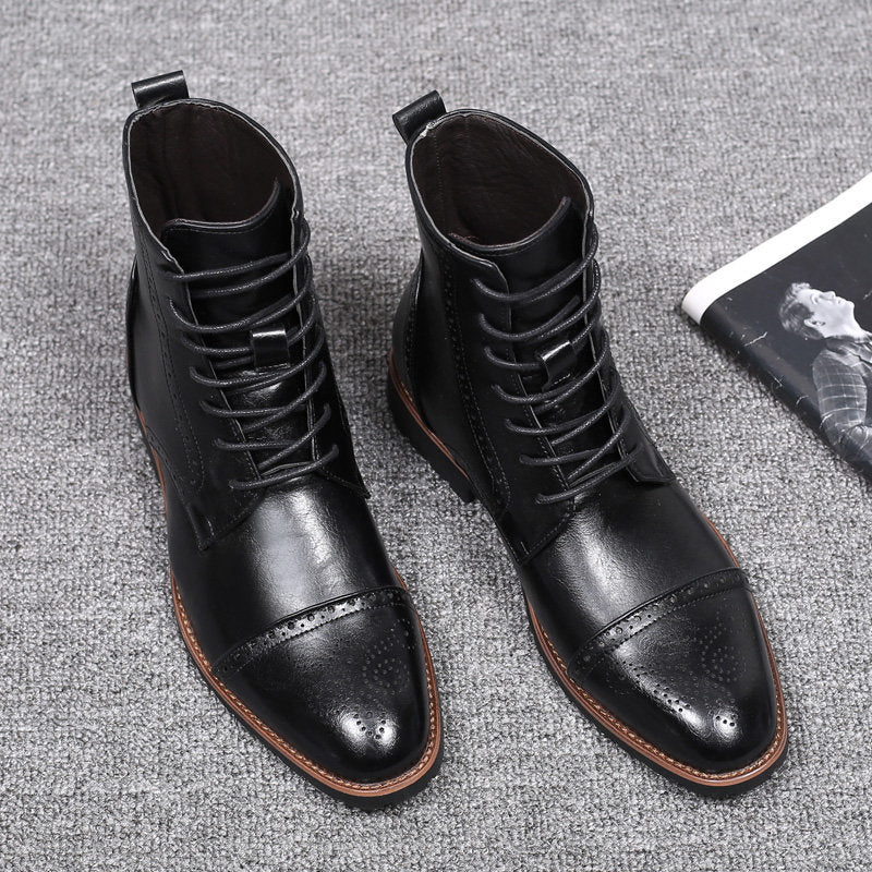 Large Size Men Carved Leather Slip Resistant Casual Brogue Boots