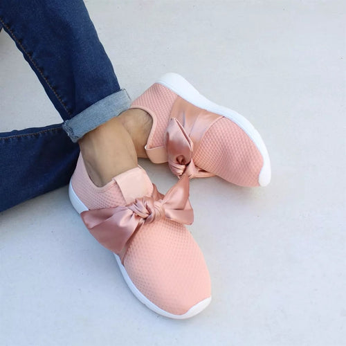 Women Bow-knot Slip On Flat Heel Round Toe Sneakers Daily Casual Shoes