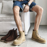 Men Canvas Splicing Classic Moc Toe Casual Ankle Boots