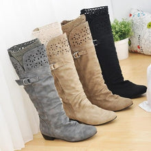 Load image into Gallery viewer, Wide Calf Chunky Heel Slip On Artificial Leather Matte Flock Mid Calf High Boots