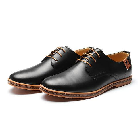 Big Size Men Pure Color Lace Up European British Style Flat Casual Oxford Shoes