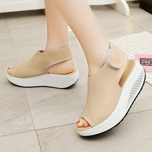 Load image into Gallery viewer, Casual Microfiber Leather Wedge Heel Magic Tape Sandals Shoes