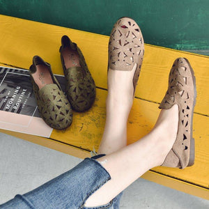 Casual Hollow Out Slip on Floral Comfortable Flat Loafers Artificial Leather Simple