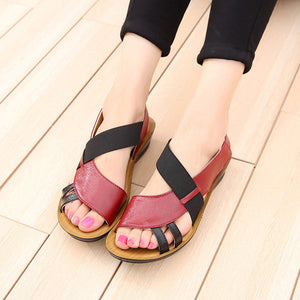 107afa641 Breathable Hollow Out Elastic Band Leather Flat Sandals