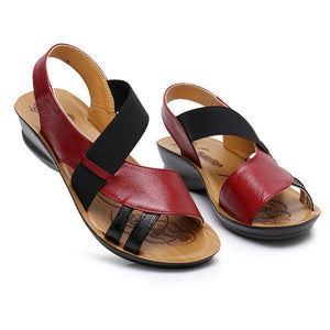 7f50ce702b5d0e Breathable Hollow Out Elastic Band Leather Flat Sandals – shoeslly