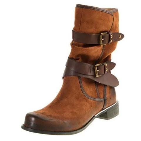 d7bbb7421f17 Wide Calf Women Low Heel Booties Casual Comfort Plus Size Buckle Artificial  Leather Shoes