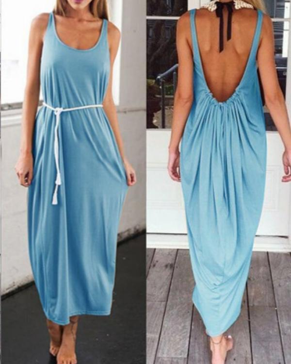 3b2c79ab006 Casual Solid Color Open Back Maxi Dress – shoeslly