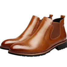 Load image into Gallery viewer, Men Carved Leather Slip Resistant High Top Casual Chelsea Boots