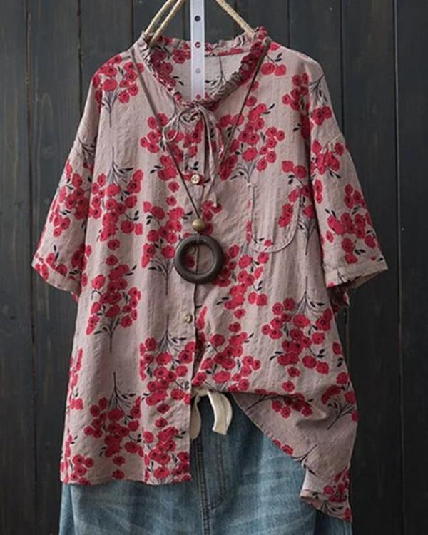 Plus Size Casual Short Sleeve Printed Blouse