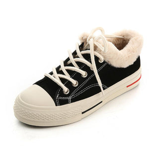 Womens Casual Canvas Platform Snow Sneakers Boots