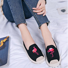 Load image into Gallery viewer, Women Canvas Flat Loafers Casual Flamingo Embroidery Espadrille Shoes
