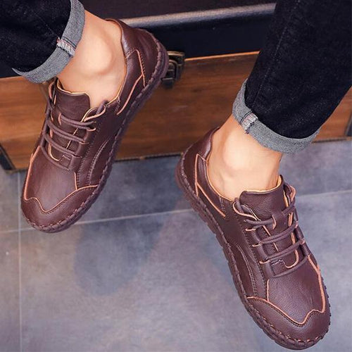 Men's Casual Soft Sole Hand Stitching Flat Shoes