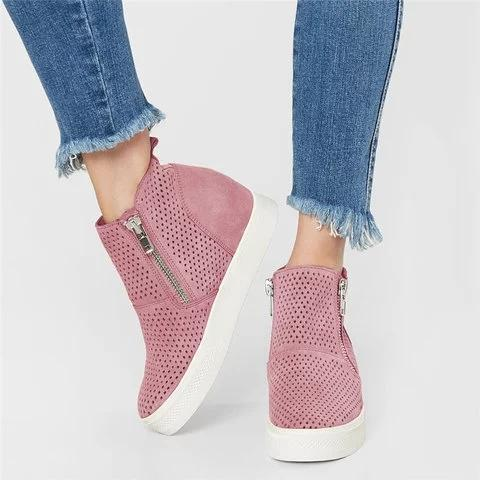 Women Summer Large Size Breathable Hollow-out Sneakers Zipper Casual Wedge Heel Boots